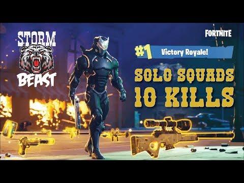 Solid Gold v2 10 Kill Solo Squad Win StormBeast Gaming Fortnite Battle Royale Full Match