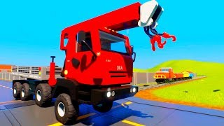 Can Tow Truck Car Stop the Train | Lego Crashes - Brick Rigs