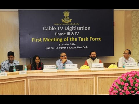 Shri Prakash Javadekar at the first meeting of the Task Force for Cable Digitization