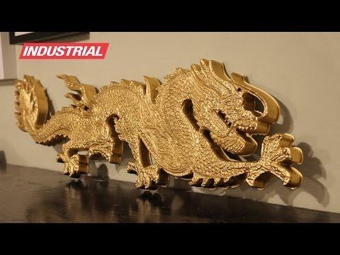 Golden Dragon 3D Foam CNC Project Using 2D/3D Carving ZrN Coated Amana Tool Industrial Router Bits