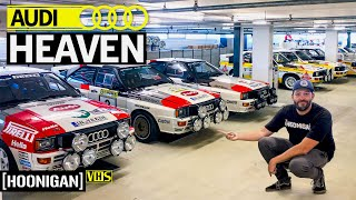 Inside Audi's Secret Storage Facility: Scotto Loses His Mind! Racecars Everywhere #audi #hoonigan