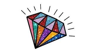 Vẽ và tô màu KIM CƯƠNG kim tuyến | Làm thế nào để vẽ kim cương, cherry,  | Bé học vẽ