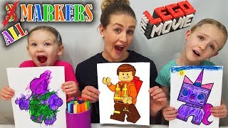 ALL MARKER CHALLENGE!!! Coloring 3 LEGO MOVIE Characters Edition!