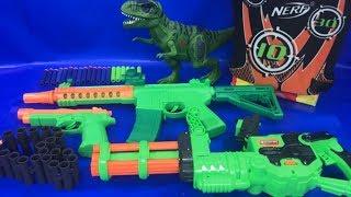 NERF Guns 👍 Box of Toys 🔫 NERF War 💥 T Rex Dinosaur 🎁 Toys for Kids