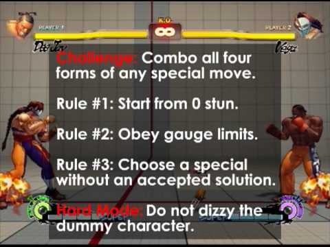 All special moves in SSF4 have four different versions: light, medium, hard, and EX. Challenge: Combo all four forms of any special move. Rule #1: Start from...