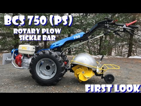 BCS 750 Tractor: Swivel Rotary Plow + Sickle Bar Attachment - First Look