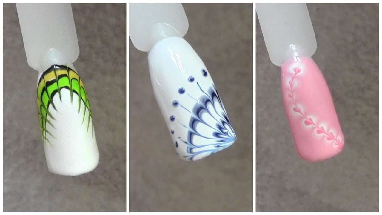 ТОП Красивый дизайн ногтей. Рисунок по мокрому 2017 новинки 30