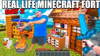 Real Life MINECRAFT Box Fort! 24 Hour Challenge DAY 2 - Cave Mining, Creepers & More!