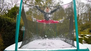 Gymnast tries Trampolining in the Snow!