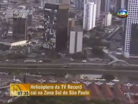 Helicóptero da TV Record cai no Jockey Club de SP - 1 morre