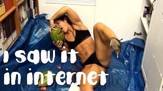 Men crushing watermelon with his legs BIISONIMAFIA
