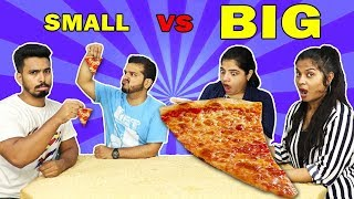 SMALL VS  BIG EATING COMPETITION ! TINY VS GAINT FOOD CHALLENGE
