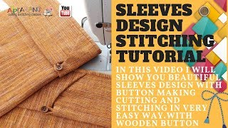 sleeves design stitching tutorial with loop and button🤔✍📐✂💃😋