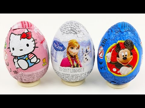 Disney Frozen kinder surprise Eggs Play Doh Peppa Pig Mickey Mouse Egg Hello Kitty