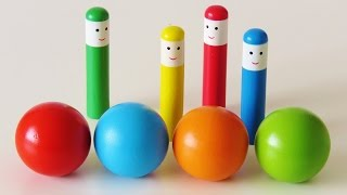 Baby toy learning colors video hammer ball pop up wooden toys learn English fun game