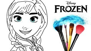How to Draw & Color Frozen Anna | Drawing Makeup & New Learning 4 Kids | Toddlers Learn Colors HD