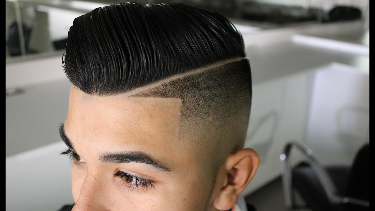 Fade Haircut Comb Over With Line