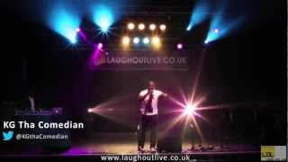 KG Tha Comedian jokes around with the audience live @LaughOutLive1