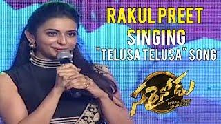 "Rakul Preet Singing ""Telusa Telusa"" Song from Sarrainodu Movie - Sarrainodu Success Meet"