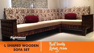 SOFA SET DESIGNS L SHAPED WOODEN (NEW DESIGN) DIAMOND BY RIGHTWOOD FURNITURE. Living room decoration