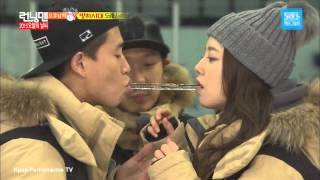 Kang Gary & Moon Chae Won - Ice Peppero Game @ Running Man Ep 228