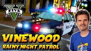 GTA 5 LSPDFR CITY PATROL Rainy Night in Vinewood | GTA 5 LSPDFR Realistic Police Mod