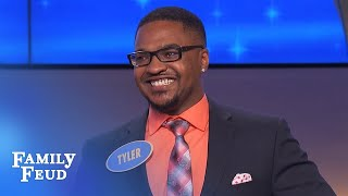 WOW! Tyler cracks up Steve Harvey with his VERY CLEVER answer! | Family Feud