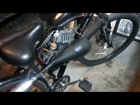 66cc motorized bicycle custom exhaust setup.
