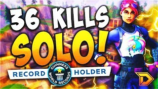 36 KILLS SOLO World Record! (Fortnite Battle Royale Gameplay Most Kills Solo vs. Squad)