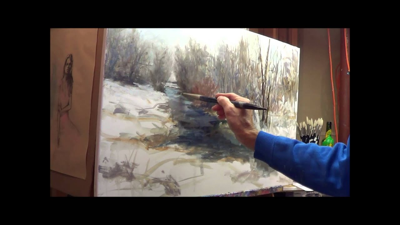 Oil painting winter scene with michael pintar youtube for Oil painting lessons near me