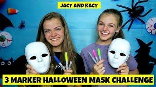 3 Marker Halloween Mask Challenge ~ Fun DIY Masks ~ Jacy and Kacy
