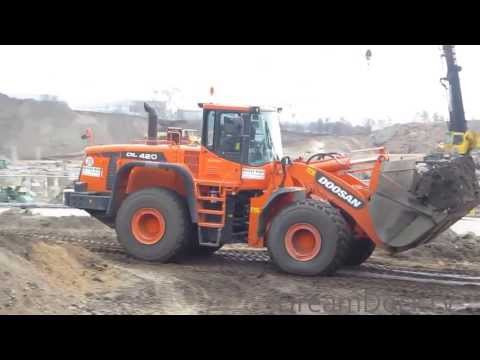 Doosan DL 420 Radlader Keestrack Brecher Siebanlage wheel loader screening plant