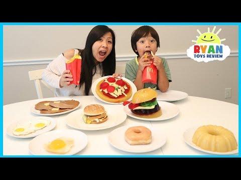 GUMMY FOOD VS REAL FOOD CHALLENGE McDonald's Fries Burgers taste test