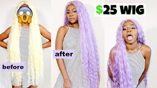 How to Dye Synthetic Hair | EASY DIY Lavender Hair | Water coloring | ft Janet Collection
