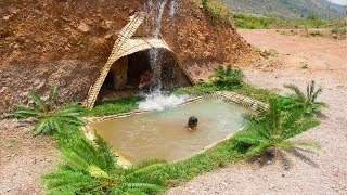 Build Amazing Swimming Pool front of Dig Underground House | Primitive Technology | Building Skill