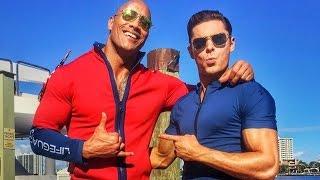 Dwayne Johnson and Zac Efron Share First Baywatch Set Photos