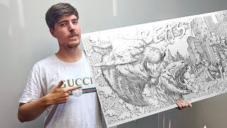 I Drew MrBeast For 24 Hours Straight & Sent It To Him | ZHC