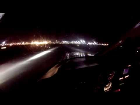 Flight into New York Kennedy JFK airport on Piper Cherokee at night from cockpit with ATC radio