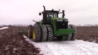 Awesome Big Tractor Power At Work:  Chisel Plowing in the Snow