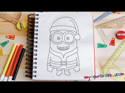 How to draw a Minion Santa Claus - Easy step-by-step drawing lessons for kids