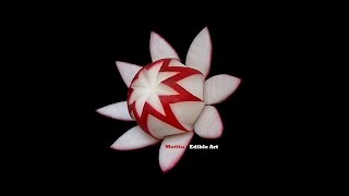 Simple Red Radish Waratah Flower Design - Lesson 21 By Mutita Art Of Fruit And Veg Carving