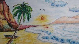 Beautiful Beach Scenery Drawing For Kids Easy Tutorial