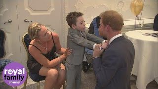 Chronically ill five-year-old hugs Prince Harry at WellChild Awards