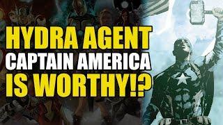Hydra Captain America Lifts Thor's Hammer (Marvel's Secret Empire Interlude)