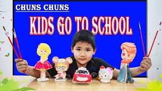 Kids Go To School   Children Chuns learn the statue and learn to draw colors 2