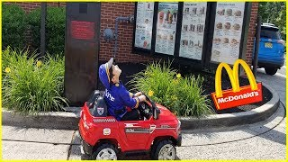 Kid Cops Little Heroes in McDonalds drive thru | Power wheels ride on car kids pretend play