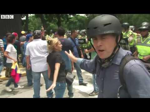Venezuela crisis  Tear gas fired at anti Maduro protest   BBC News