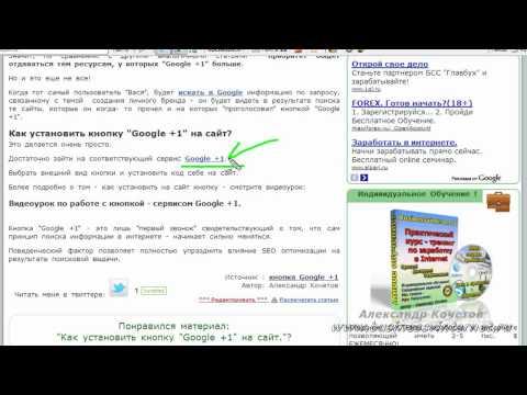 """Как установить кнопку """"Google +1"""" на сайт  KOCHETOFF.ru"""
