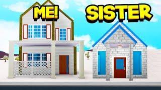SISTER Vs BROTHER NO ROTATING BLOXBURG HOUSE BUILD OFF!! (Roblox)