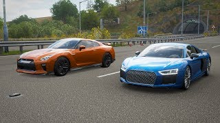 Forza Horizon 4 Drag race: Nissan GTR 2017 vs Audi R8 V10 Plus (2016)